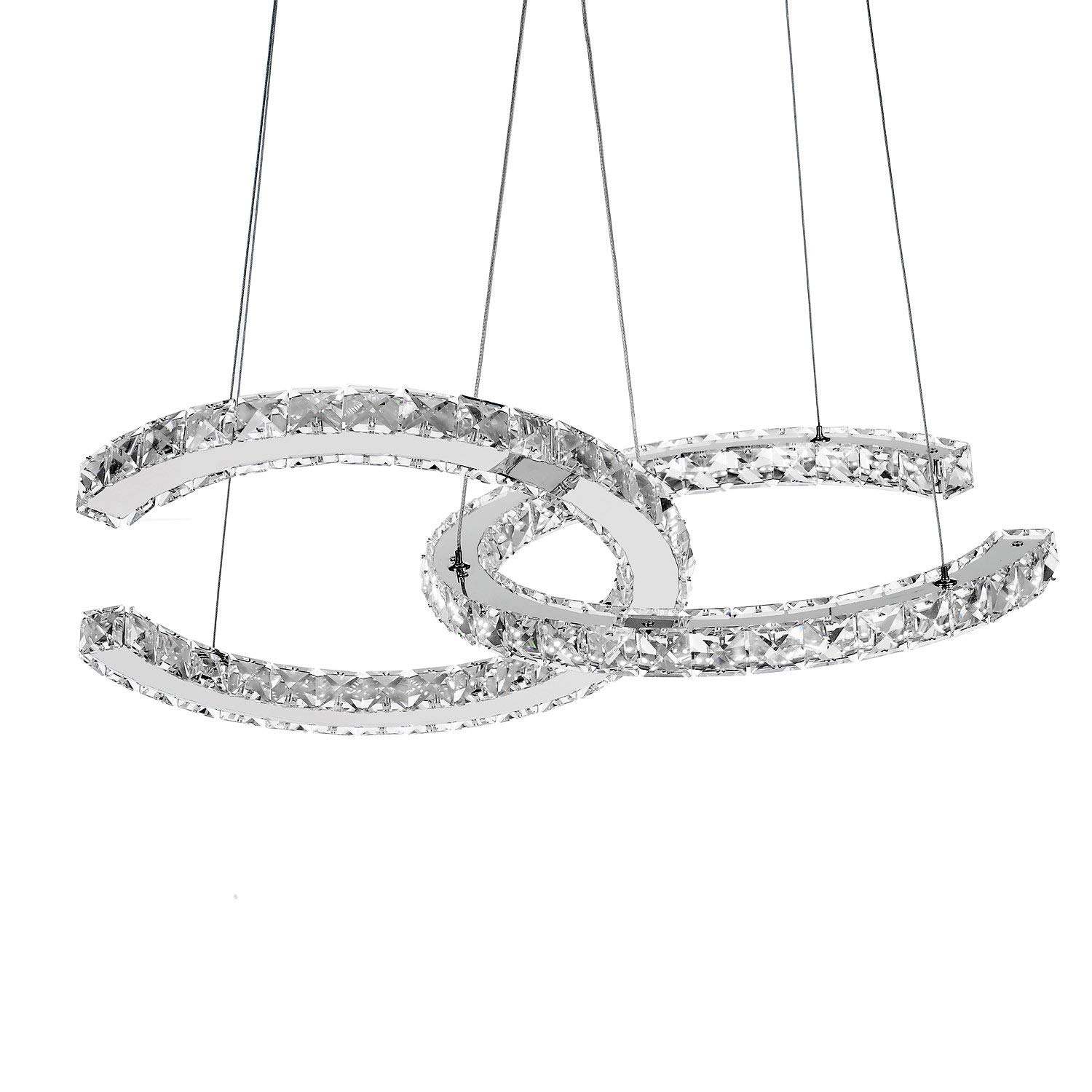 Dearlan Chandeliers Aluminum Chain Chandelier Lighting Light Fixture Modern Crystal 2 C Rings Dia 1574 Ceiling Living Room Hotel Hallway Foyer Entry Bed
